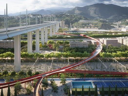 Ponte Piano sul Polcevera a Genova Italia